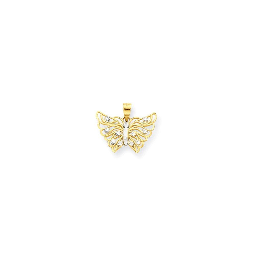 10k and Rhodium Butterfly Pendant