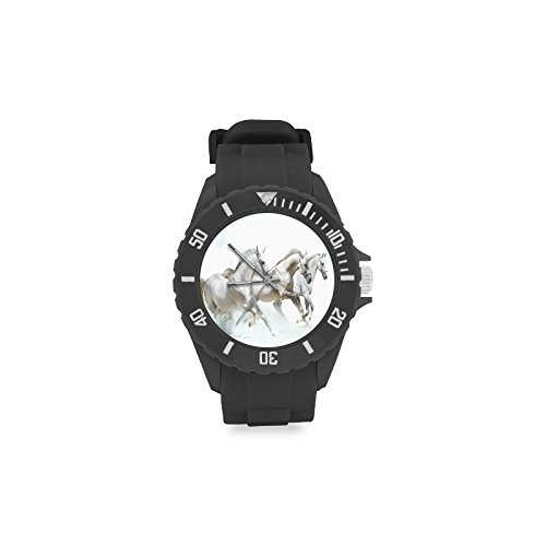 Birthday Gifts Classic Black Horse Running in the Water Kids' Round Rubber Sport Watch by Horse Watch