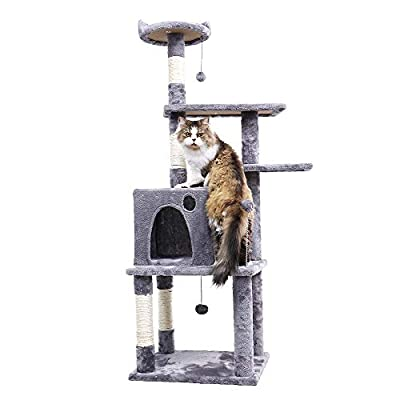 """PAWZ Road 54.7"""" Cat Tree Kitty Tower with Sisal-Covered Scratching Posts, Plush Perches and Condo for Cats,Kitty"""