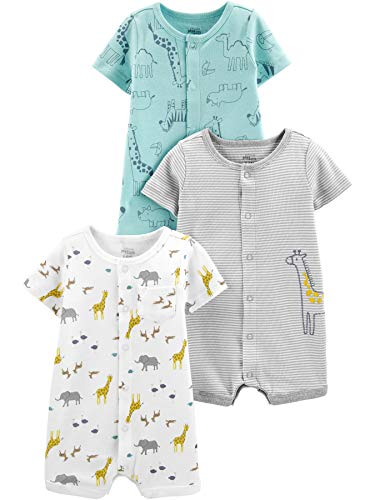 Simple Joys by Carter's Boys' 3-Pack Neutral Snap-up Rompers