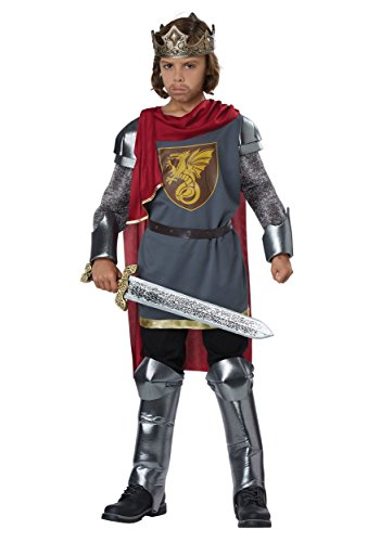 Medieval King/King Arthur Boys Costume Silver/Red ()
