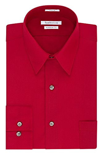 Van Heusen Men's Dress Shirt Regular Fit Poplin Solid, Flame, 16.5