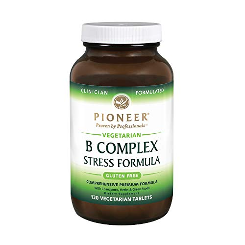 Pioneer B Complex Stress Formula | High Potency B Vitamins | Whole Food Based | Verified Gluten Free | 120 Vegetarian Tablets