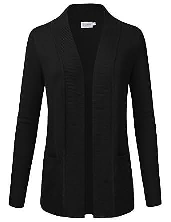 JJ Perfection Women's Open Front Knit Long Sleeve Pockets Sweater Cardigan Black S