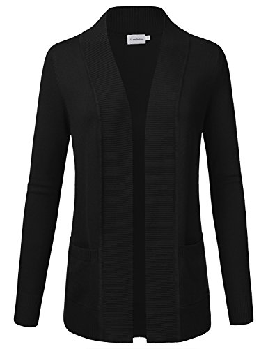 JJ Perfection Women's Open Front Knit Long Sleeve Pockets Sweater Cardigan Black L