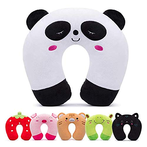 HOMEWINS Travel Pillow for Kids Toddlers - Soft Neck Head Chin Support Pillow, Cute Animal Comfortable in Any Sitting Position for Airplane, Car, Train, Machine Washable, Children Gifts (Panda)