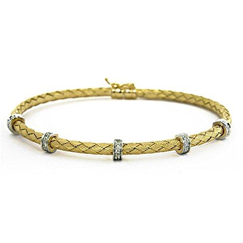 (0.15 Ct Diamonds 18k Yellow Gold 2.8mm Basket-Weave Braided Textured Finish Flexible Bangle Bracelet)