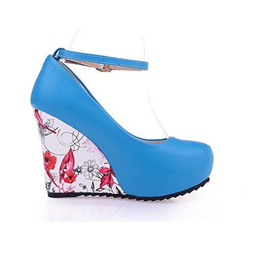 AllhqFashion Mujer PU Hebilla Tacón Alto Cuña Puntera Redonda ZapatosdeTacón Azul