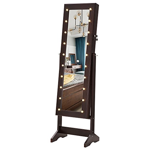 SONGMICS LED Jewelry Cabinet Armoire with Mirror, Lockable Jewelry Organizer with 20 Marquee Lights, Brown UJJC81BR (Cabinet Jewelry Mirror)