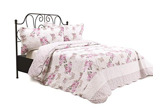 Chiara Rose 3 Piece Reversible Quilt Set Bedspread Coverlet Lightweight Comforter Full Queen PNK RS (Bedspreads With Roses)
