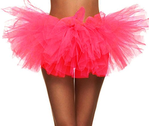 Simplicity Women's Classic 5K, 10K Run 5 Layered Tulle Tutu Skirt, Hot Pink -