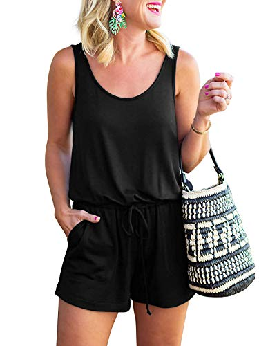 ANRABESS Women Rompers Sexy Scoop Neck Sleeveless Jumpsuits anDWX Rompers DWX-heise-S BYF-46 ()