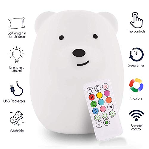 Toys for 1-6 Year Old Girls Boys Baby Toddlers Infant Kids Gifts for 6-24 Month Old Boys Girls Silicone Night Light Rechargeable Color Changing Bright Nightlight