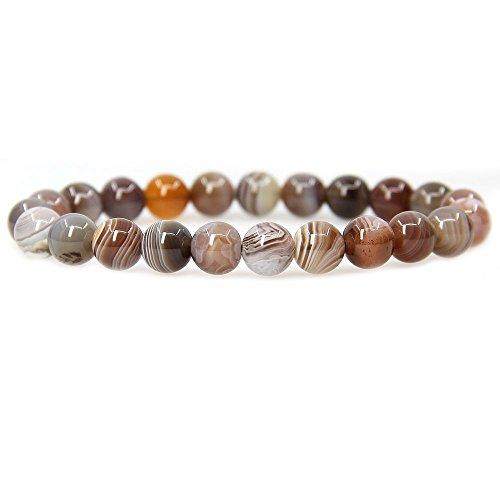 "Natural Botswana Agate Gemstone 8mm Ball Beads Stretch Bracelet 7"" Unisex"