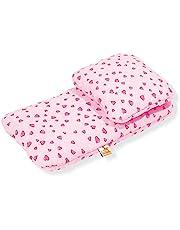 Pinolino Poppenbeddengoed voor poppenwagen hartjes, 2-delig, met hoofdkussen en dekbed, wasbaar, overtrek 100% katoen, voor meisjes vanaf 1 jaar, roze