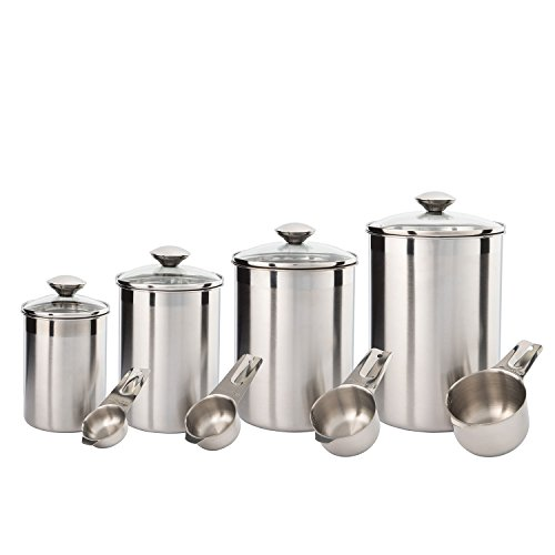 SilverOnyx Canister Set Stainless Steel - Beautiful Canister Sets for Kitchen Counter, 8-Piece Medium Sized with Glass Lids and Measuring Cups - Tea Coffee Sugar Flour Canisters - 8pc Glass Lids (Vintage Storage Canisters)