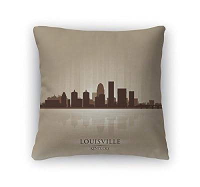 Gear New Throw Pillow Accent Decor, Louisville Kentucky Skyline City Silhouette, 6308362GN