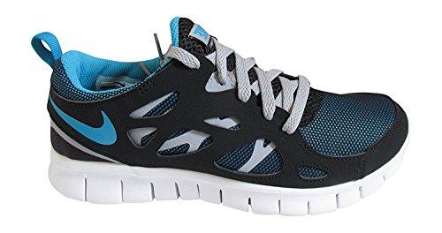 Nike Free Run 2 (gs) In Esecuzione Ragazzi Scarpe Da Corsa Nero Blu Laguna Lupo Grigio 040