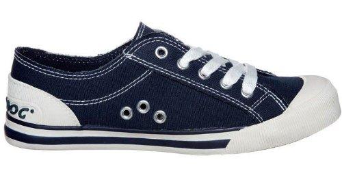 Rocket Dog Jazzin Marine Weiß Neu Damen Laced CanvasTrainer Schuhe Stiefel