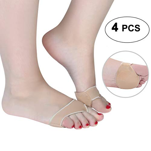 Sesamoiditis Pads Gel Forefoot Cushions Stretchable Anti Slip Metatarsal Pad for Shoes Sesamoiditis Relief Metatarsalgia pad Metatarsal Sleeve Metatarsal Foot Pads for Women for Man Large - 4 Pieces