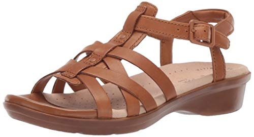 (CLARKS Women's Loomis Katey Sandal tan Leather 065 W US)