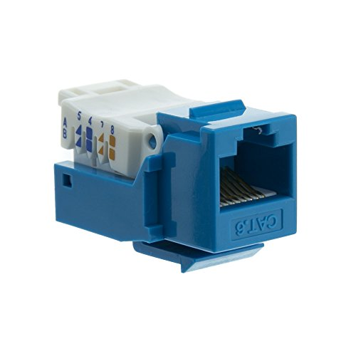 Cat6 Keystone Jack, Blue, Toolless, RJ45 Female - Inline UTP Lan Modular Patch Stand Punch Down (Hubbell Angled Faceplate)