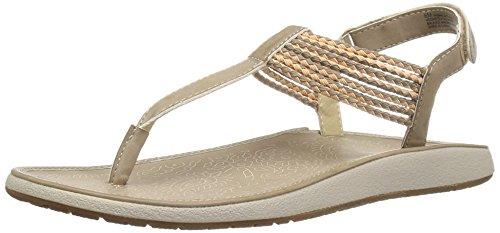 JBU by Jambu Women's Yasmin Gladiator Sandal, Ivory/Coral, 8 M (Brushed Gold Footwear)