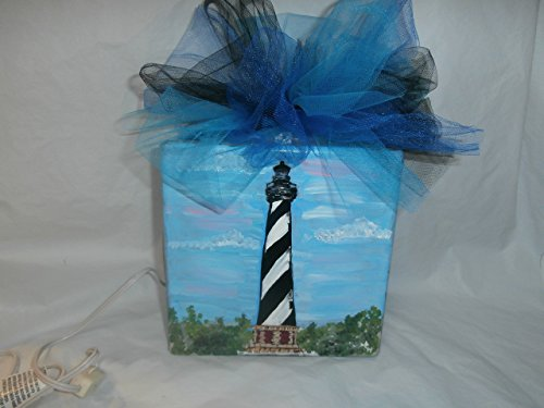 Lamp Lighthouse Historic (Hand painted 8 x 8 lighted glass block. Painted in a pretty Cape Hatteras design.. Finished off with a bow and single light.)