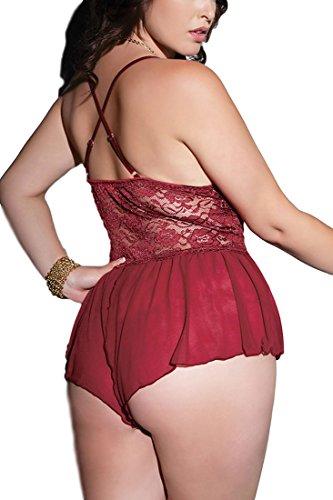 60727b44010 JuicyRose Women Sexy Lingerie Teddies Sheer Lace Halter Babydoll (US L/Tag  XL,