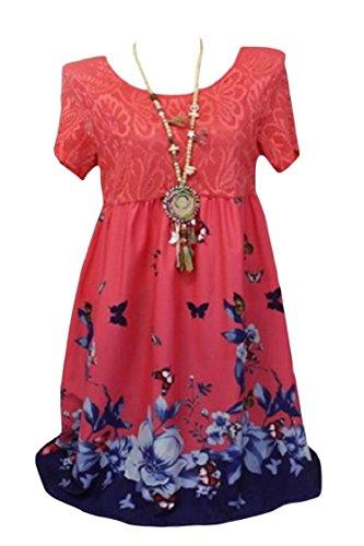 Vestito Linea Plus manicotto Orlo Altalena size Sole Floreali Pizzo Bicchierino Coolred donne Del Rosso vAXWSnYX