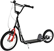 Aosom Teens Youth Kick Scooter Adjustable Handlebar Ride On Toy for 5+ w/ Front and Rear Dual Brakes Inflatabl