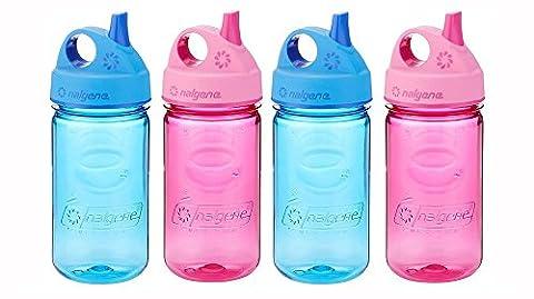 Nalgene Grip-N-Gulp Kids / Children's BPA Free Dishwasher Safe Tritan Water 12oz Bottles, Set of Four Bottles - Two Blue and Two Pink. 7.5 Inches Tall by 3.5 Inches Wide (Blue and - Nalgene Grip N-gulp