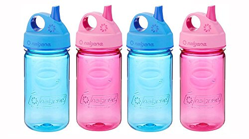 Nalgene Grip-N-Gulp Kids / Children's BPA Free Dishwasher Safe Tritan Water 12oz Bottles, Set of Four Bottles - Two Blue and Two Pink. 7.5 Inches Tall by 3.5 Inches Wide