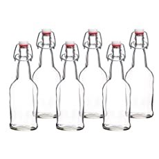 California Home Goods 16 Ounce Grolsch Bottles with EZ Caps for Beer, Fermenting Kombucha, Home Brewing, Kefir, Resealable and Reusable, Flip Top Caps, Clear (Set of 6)