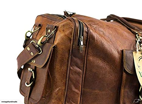 731bc3b10a36 KK s 30 Inch Real Goat Leather Large Handmade Travel Luggage Bags in Square  Big Bag Carry On  Amazon.ca  Luggage   Bags