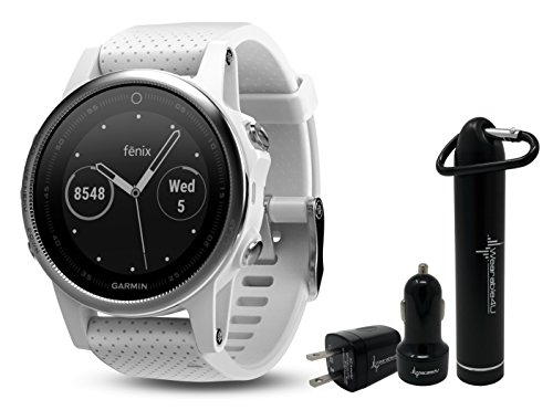 Garmin Fenix 5S Premium GPS Multisport Watch Ultimate Power Bundle | Includes Garmin Fenix 5S Watch (42mm), Wearable4U Power Bank, and Wearable4U Car and Wall USB Charging Adapters | by Wearable4U