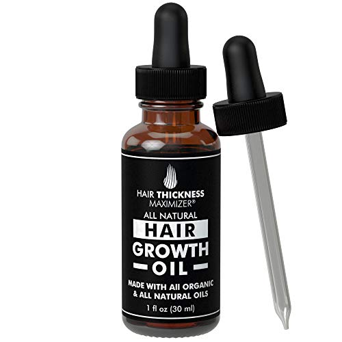 BEST Organic Hair Growth Oils GUARANTEED. Stop Hair Loss NOW by Hair Thickness Maximizer. Best Treatment for Hair Thickening/Thinning Hair. Infused with All Organic Black Castor Oil, Jojoba, Argan
