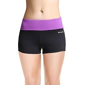 Baleaf Women's Workout Yoga Running Boy Cut Foldover Shorts Inner Pocket Dewberry Size XS