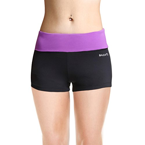 Baleaf Women's Workout Yoga Running Boy Cut Foldover Shorts Inner Pocket Dewberry Size S