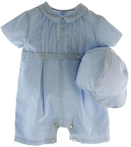 Baby Boys Dressy Blue Shortall Outfit & Hat Set - Sarah Louise - Sarah Louise Hat