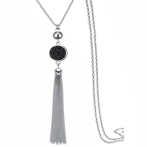 Multi Link Tassel End Statement Y Necklace Snake Chain Neck Pendant for (Long Statement Necklace)