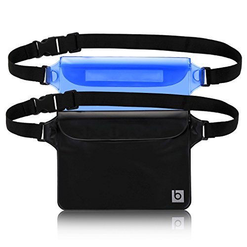 Waterproof Pouch with Waist Strap (2 Pack) | Best Way to Keep Your Phone and Valuables Safe and Dry | Perfect for Boating Swimming Snorkeling Kayaking Beach Pool Water - Paddles Swimming Best