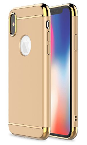 iPhone X Case,RORSOU 3 in 1 Ultra Thin and Slim Hard Case Coated Non Slip Matte Surface with Electroplate Frame for Apple iPhone X (5.8)(2017) - Gold
