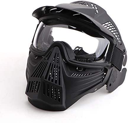 Amazon Com Anyoupin Paintball Mask Airsoft Mask Full Face With Goggles Impact Resistant For Airsoft Bb Hunting Cs Game Paintball And Other Outdoor Activities Black Clear Lens Sports Outdoors