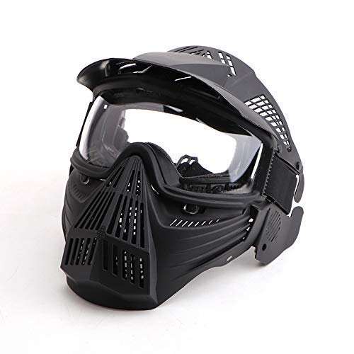 Anyoupin Paintball Mask, Airsoft Mask Full Face with Goggles Impact Resistant for Airsoft BB Hunting CS Game Paintball and Other Outdoor Activities Black-Clear-Lens