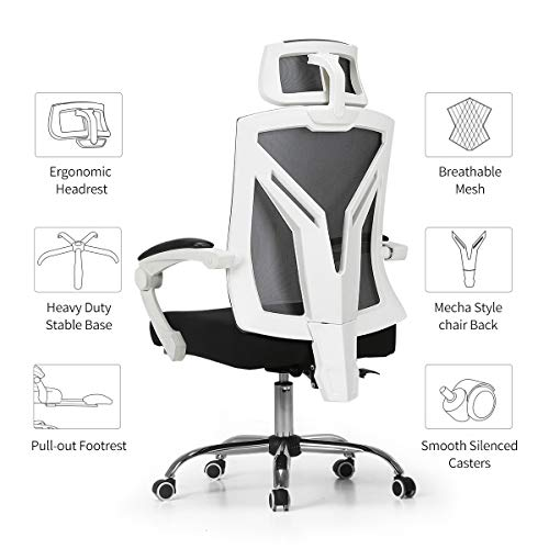 Hbada Ergonomic Office Chair - High-Back Desk Chair Racing Style with Lumbar Support - Height Adjustable Seat,Headrest- Breathable Mesh Back - Soft Foam Seat Cushion, White by Hbada (Image #8)