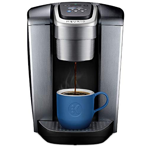 Keurig K-Elite Single-Serve K-Cup Pod Maker with Strength & Temperature Control, Iced Coffee Capability, 12oz Steel Steel Brew Size, Programmable, Brushed Silver (Renewed)