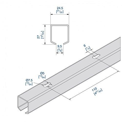 1300 AUSSENBEREICH f/ür Durchgangst/üren Laufschiene Stahl 195 cm f/ür Schiebet/ürbeschlag SLIDUP 1200