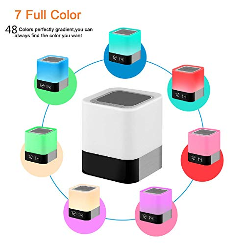 HOMPOT- Night Light Bluetooth Speaker, Touch Sensor Bedside Lamp Warm Light and Color Changing Alarm Clock, MP3 Player, USB, AUX, 4000mAh Battery Best Gift for Kids, Party, Bedroom, Outdoor. by HOMPOT (Image #1)