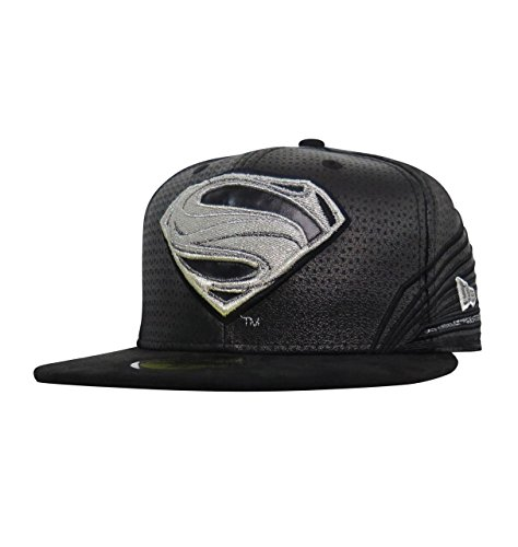New Era Spandex Hat - Superman Black Armor Justice League 59Fifty Fitted New Era Hat- 7 1/8